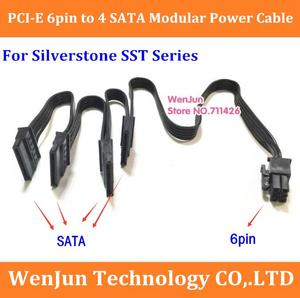High quality 6Pin PCI-E male to 4 SATA 15pin Modular Power Supply Adapter Cable for Silverstone SST-ST Series