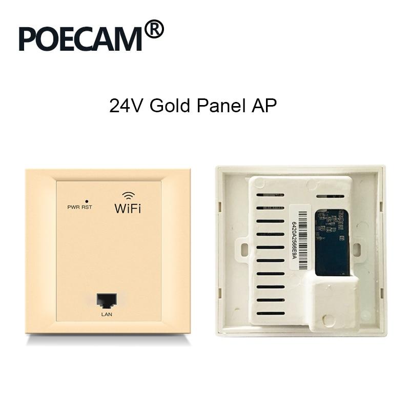 Repetidor 86 pannel AP tipo 2,4G 300Mbps router inalámbrico de viaje wifi en punto de acceso de pared poe 24V Color opcional blanco dorado