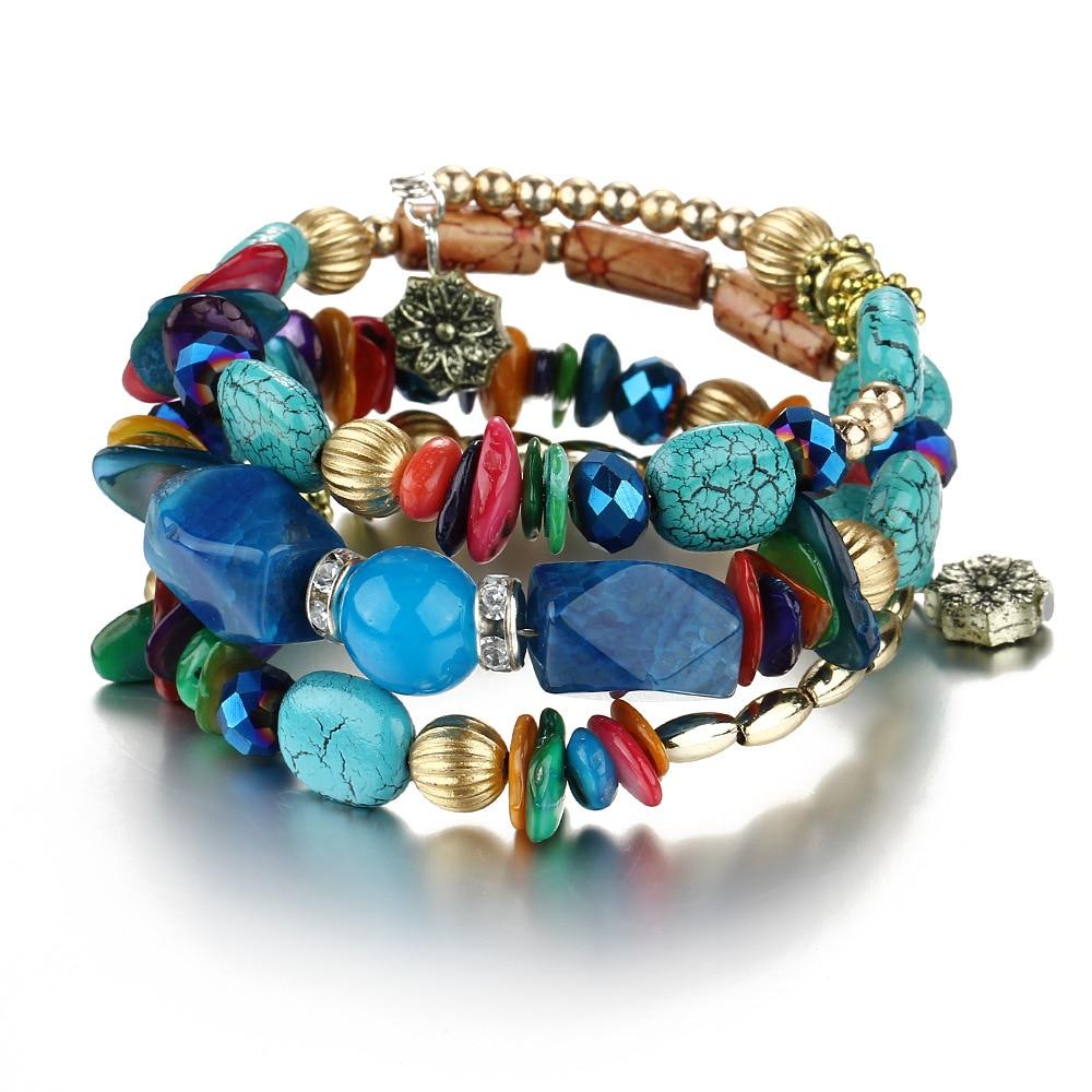 2019 Vintage Multilayer Tassel Bracelets For Women Bohemian Resin Stone Bead Bracelets & Bangles Pulsera Ethnic Jewelry