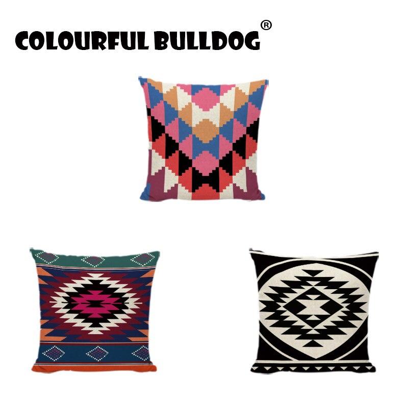 Estilo étnico preto e branco geométrico trilateral lance fronhas personalizado impresso fronhas decoração para casa capas de almofada modernas
