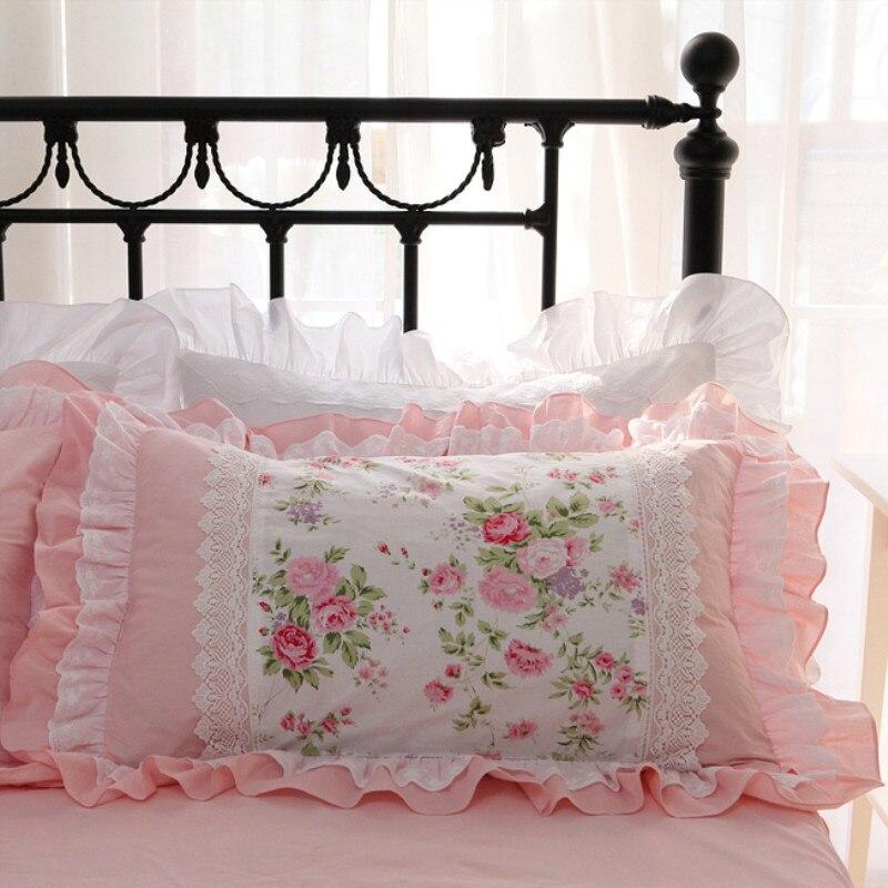 2pcs rose print pillow case Embroidery ruffle lace pillowcase 100% cotton pillow cover bed pillow cases pillow sham pillowcover
