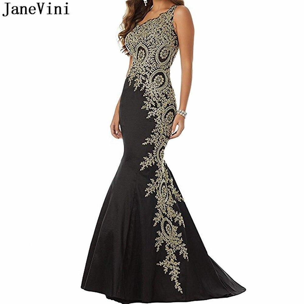 JaneVini Sexy noir sirène longues robes de soirée une épaule or Appliques perlées dos nu Satin grande taille robe Gala Jurken