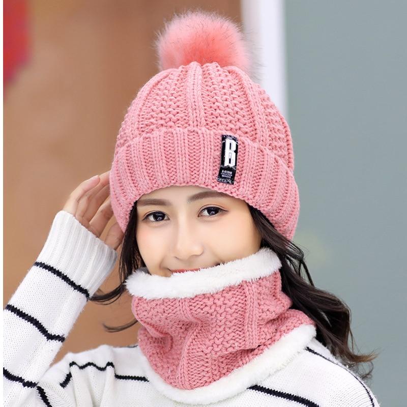 Brand Winter knitted Beanies Hats Women Thick Warm Beanie Skullies Hat Female knit Letter Bonnet Bea