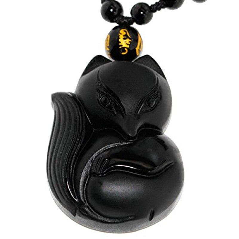 2020 piedra de obsidiana negra Natural 3D tallada en forma de zorro colgante para mujer amuleto afortunado Jades para hombre colgantes de joyería + collar de cuentas