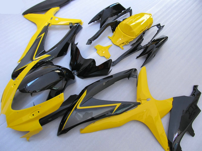 Kit Carenagem Molde de injeção para SUZUKI GSXR600 750 K8 08 09 GSXR 600 GSXR750 2008 2009 ABS Fairings preto amarelo conjunto