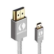 Câble Micro hdmi ANNNWZZD 1.4 plaqué or câble Micro HDMI vers HDMI câble HDTV haute vitesse compatible Ethernet, 3D, 4K