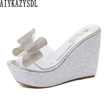 AIYKAZYSDL 2019 Women Summer Wedge Heel Shoes Clear Crystal Sandals Bowknot Platform High Heels Sequined Bling Shiny Mule Slides