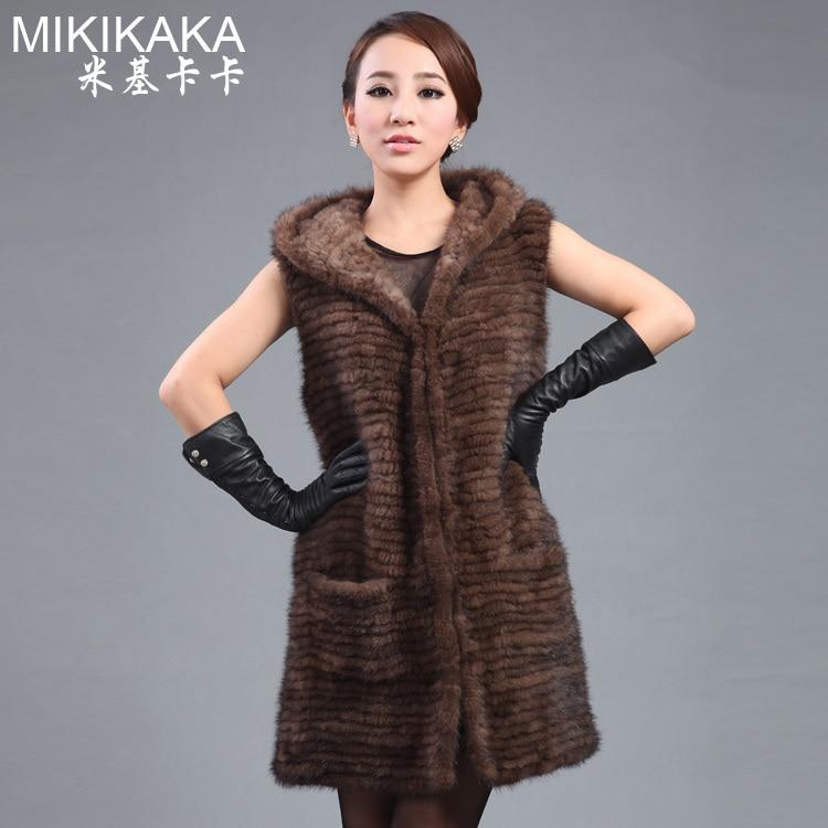 패션 새로운 숙 녀 밍 크 코트, 우아한 귀족 여성 니트 밍 크 모피 조끼, 두건 된 밍 크 싸움 밍 크 모피 양복 조끼 FK5170