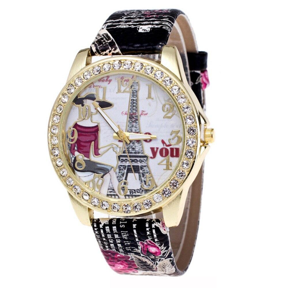 Diamond Insert Eiffel Tower In Paris Wrist Watch Women Printing Wrist Watch 2019 female watches Accessory Jewelry