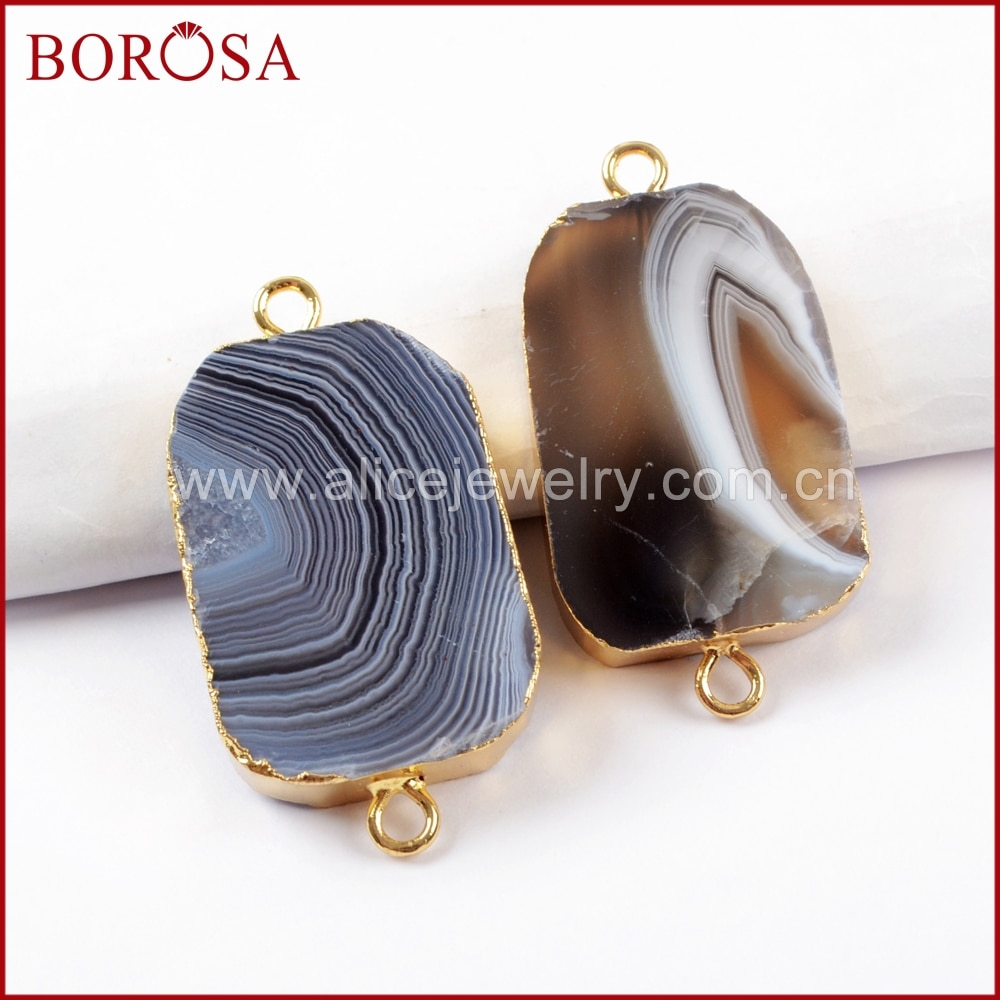 BOROSA, 5/10 Uds., Color dorado, Natural de Botswana, ágatas, conectores Druzy para abalorios de moda, pulsera, joyería G1637