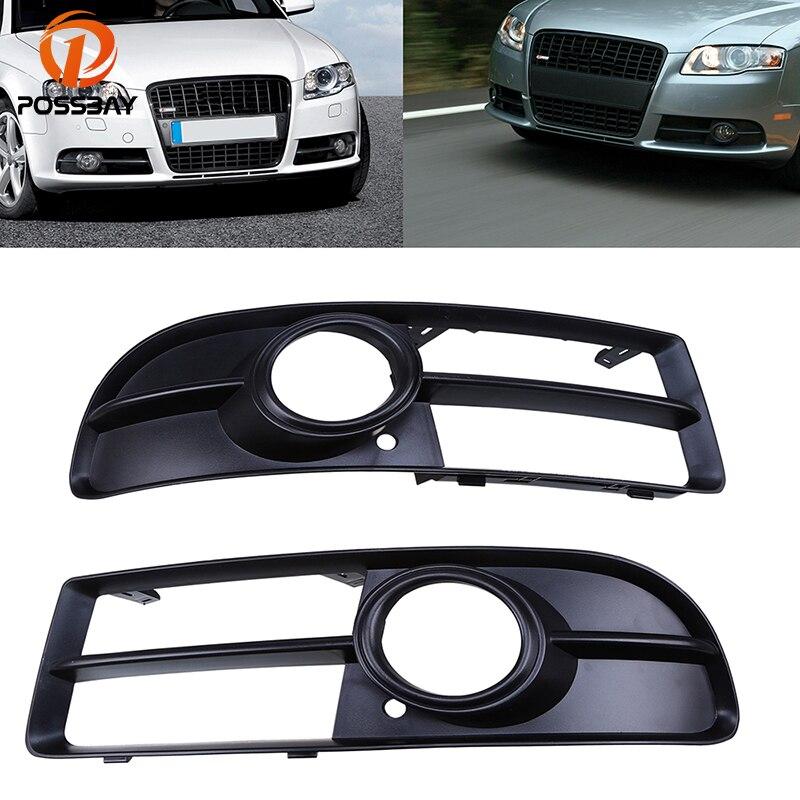 Автомобильный передний бампер posbay, передняя и передняя Передняя панель черного цвета с противотуманной крышкой, 1 пара, для Audi A4 B7, автозапча...