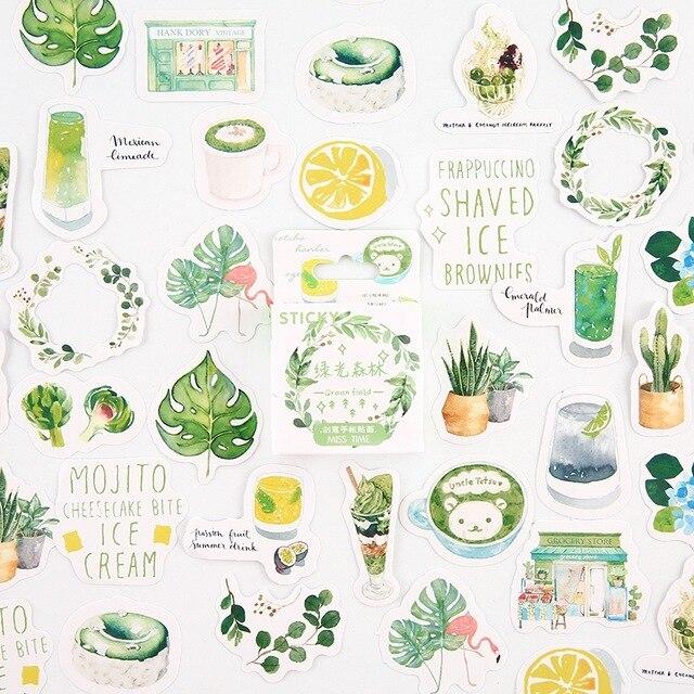 verde-foresta-decorativo-della-cancelleria-mini-set-di-adesivi-scrapbooking-fai-da-te-diario-album-bastone-lable-kawaii-di-cancelleria