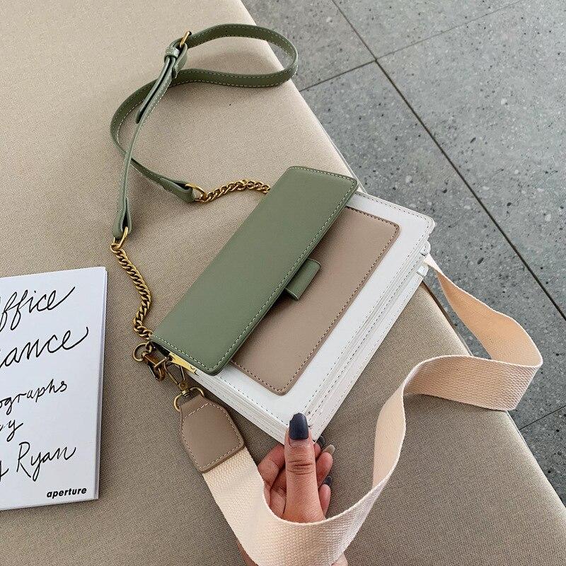 Sacos de couro crossbody para as mulheres verde corrente ombro saco do mensageiro alta qualidade senhora bolsas de viagem e bolsas saco corpo cruz