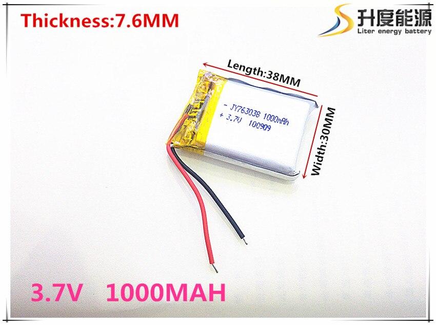 Li-po 3,7 V 763038 Litio-batería de polímero de iones 1000 mah vehículo que viaja datos grabadora LED altavoces Juguetes