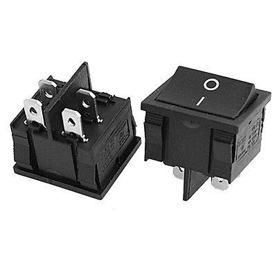 10 Pcs x Preto 4 Pin On-Off SPST Pressão No Barco Rocker Switch 250 V/6A 125 V/10A AC KCD5-201