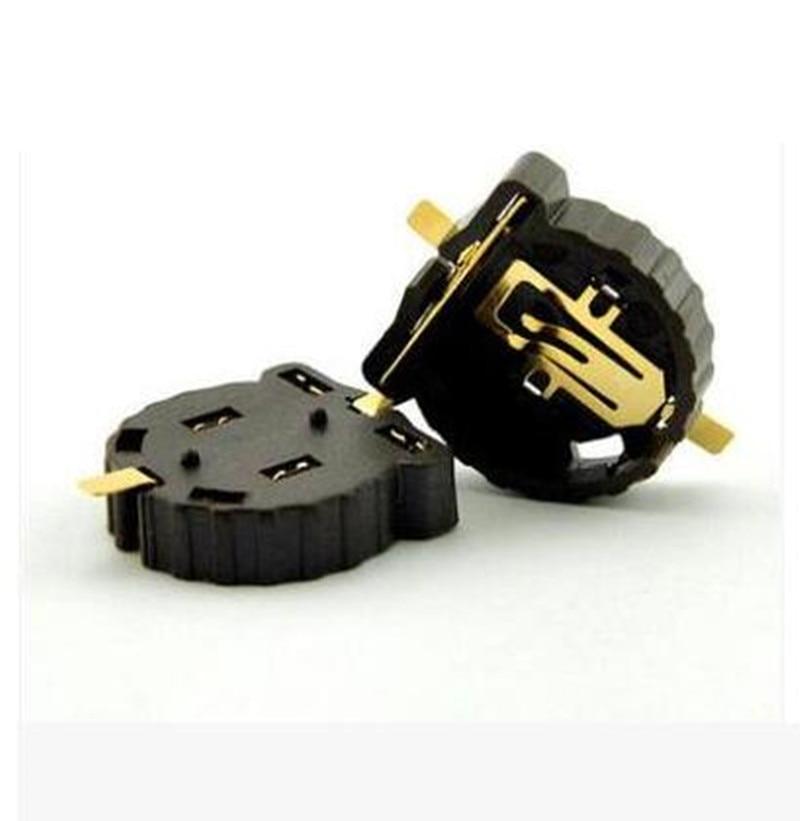 100 шт./лот CR1220 CR1225 Кнопка держатель батареи 3V кнопка держатель батареи SMD упаковка покрытие температуры