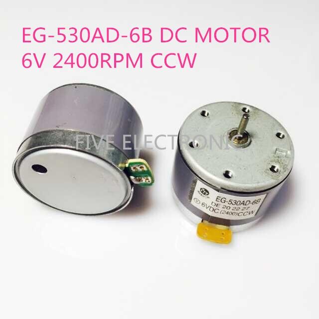EG-530AD-6B 6VDC (2400 RPM) CCW DC MOTOR para el hogar grabadora instrumento educativo repetidor altavoz