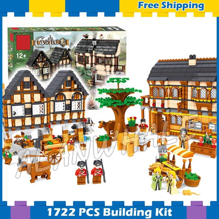 1722 Uds Castillo serie Mercado Medieval pueblo montar DIY modelo bloques de construcción niños regalos conjuntos compatibles con Lago