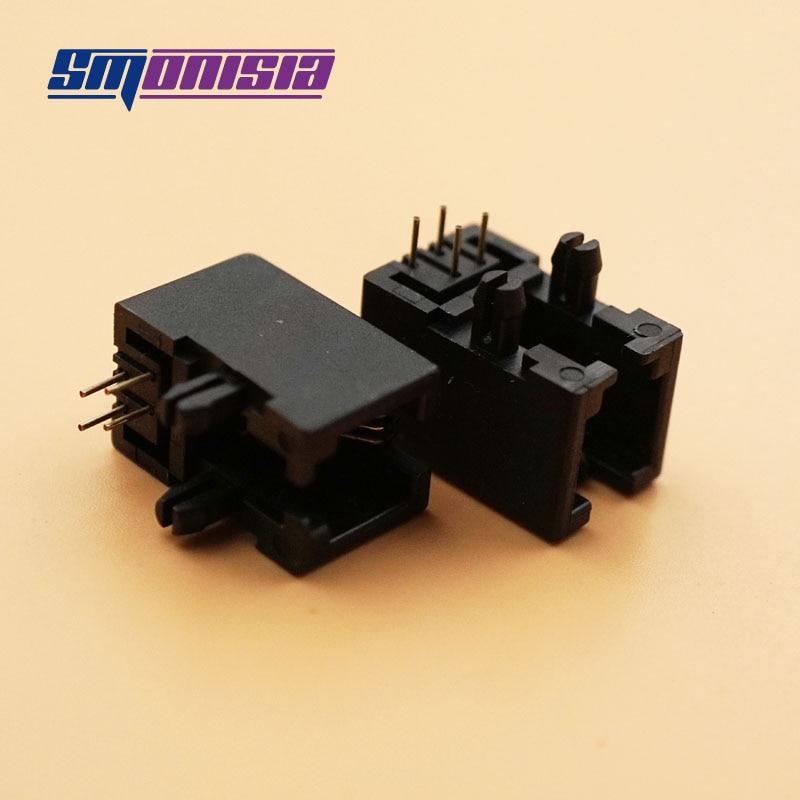 Conector hembra RJ11 de 6 pines 100 unids/lote, conector hembra 95001-6P6C, conector hembra RJ12 de 90 grados, Conector de cristal RJ