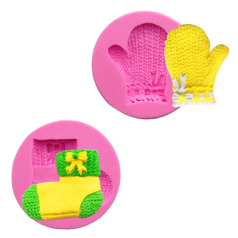 Serie de Navidad Gloved y calcetín Fimo arcilla molde pastel decoración herramientas Sugarcraft Chocolate moldes para jabón hecho a mano