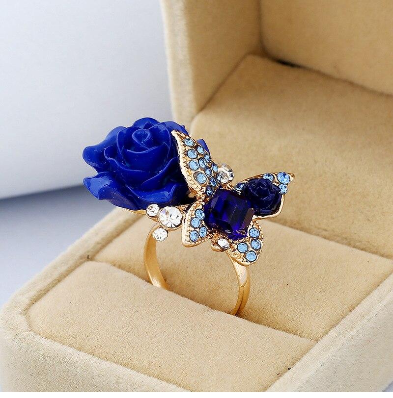 Anillo rosa azul claro para mujer retro bohemio mariposa anillo de boda joyería de moda