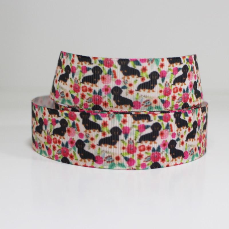"50 metros 7/8 ""1"" 1.5 ""2"" 3 ""50 38 25 22mm mm mm mm 75mm rosa do cão impresso grosgrain ribbon para cabelo headband cabelo bow tie collar"