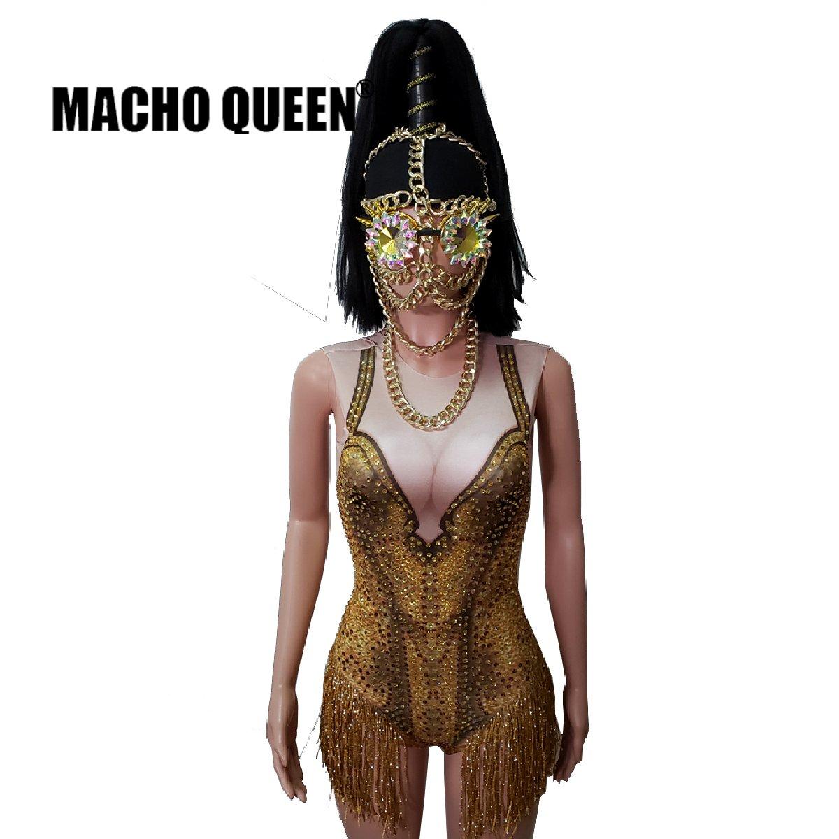 Mono de flecos con diamantes de imitación dorados, mono de cristal para Hombre Ardiente, Dra Queen, vestido de baile latino para mujer, Atuendo para cantante de escenario