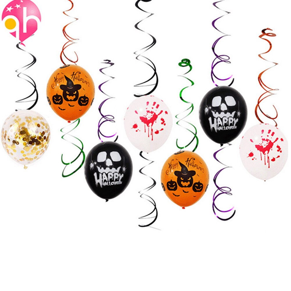 Juego de 21 Uds de globos reutilizables de Halloween multiuso de papel de aluminio para truco o trato con borlas colgantes, prácticos globos de remolino de Halloween