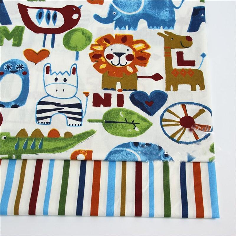 50*160cm Cute Cartoon Animals & Colorful Stripe 100% cotton twill cotton Fabric for DIY kids bedding doll dress cushion quilting