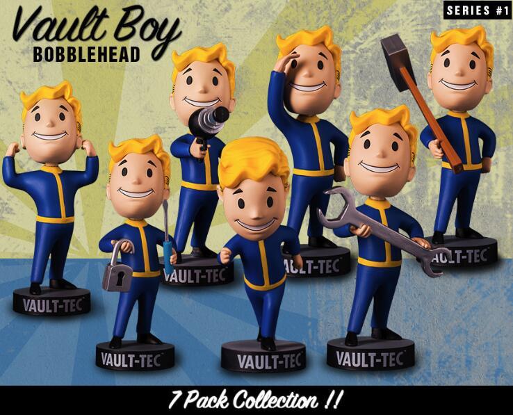 رؤوس ألعاب Fallout 4 Bobblehead Cute Vault Boy Series 1, مجسم ألعاب قابل للجمع