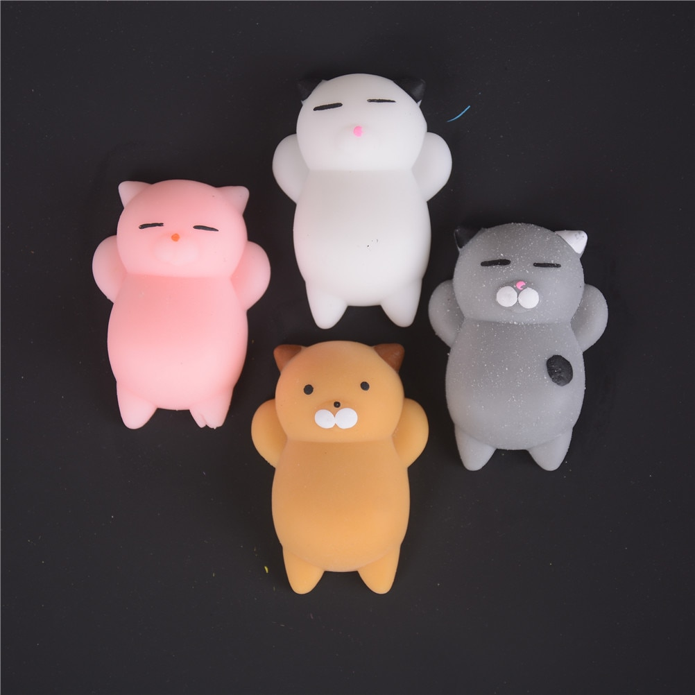 Bonitos gatos suaves 3D, juguetes, correa para teléfono móvil, Kawaii Marshmallow, Gel de silicona suave, juguete encantador, apretón de dedos