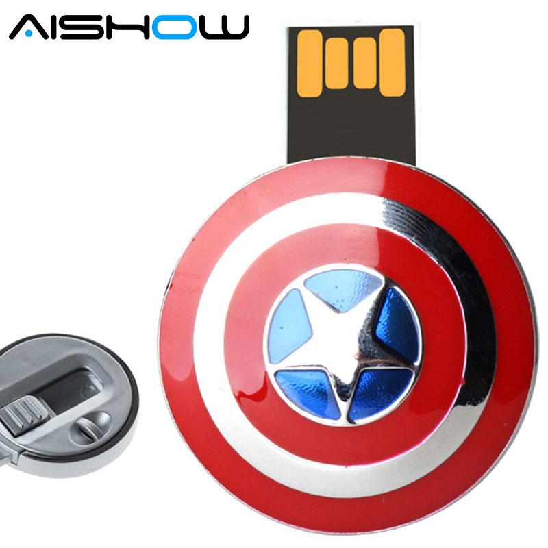 usb flash drive New listing Captain America Shield pendrive U Disk 4G 8G 16G 32G USB Flash 2.0 Memory Drive Stick u disk