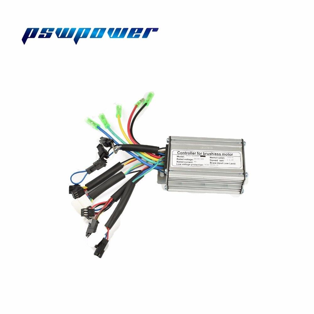 24 v/36 v 250 w 12a brushless dc controlador de onda quadrada ebike bicicleta elétrica hub controlador do motor com saída direita