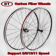 RT 700C Ultra-light Carbon Fiber Road Bicycle Wheels Rim Drum 6 Claws 120 ring Sealed Bearing Wheels Racing wheelset Rims