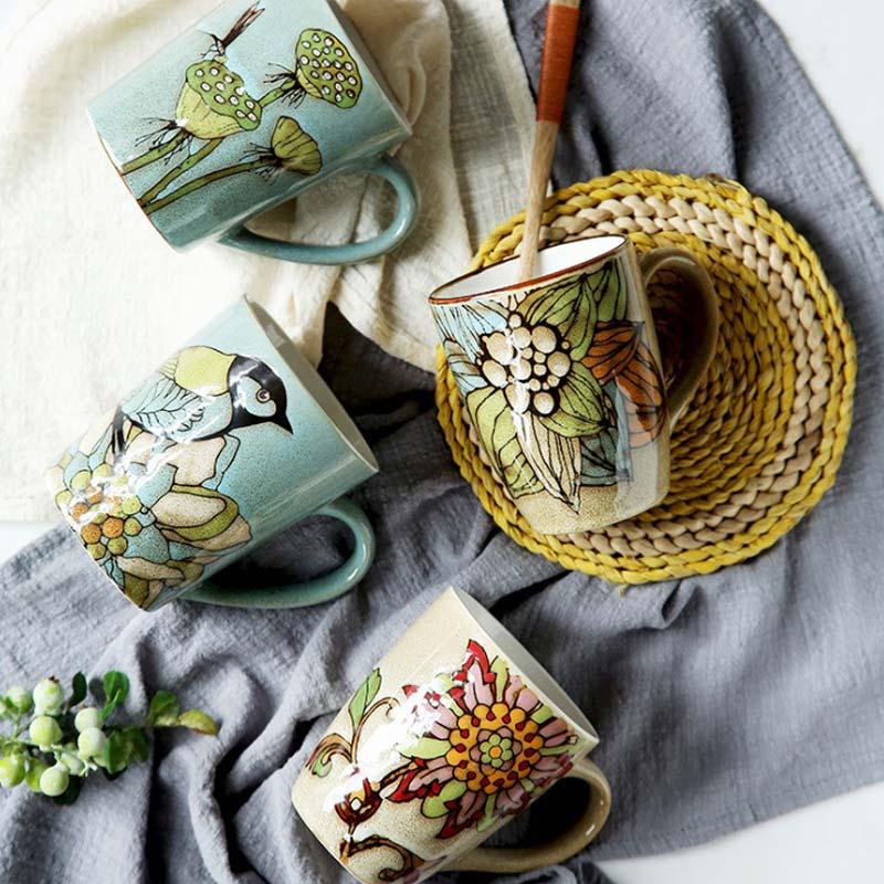 Taza de porcelana retro chino, juego de tazas de té de pájaro de celadón, juego de tazas de té de cerámica China, juego de té de Kung Fu, Taza de cerámica, regalo chino
