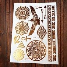 1PC Hot Indian Eagle złoty metaliczny tatuaż skrzydło oko boga słonecznik strzałki biżuteria wzory tymczasowy tatuaż z henny kobiety AYS-48