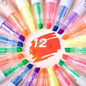 Deli 12pcs Fluorescent Marker Affordable Packing Thick Marking Color Pen Candy Color Large Capacity Highlighter