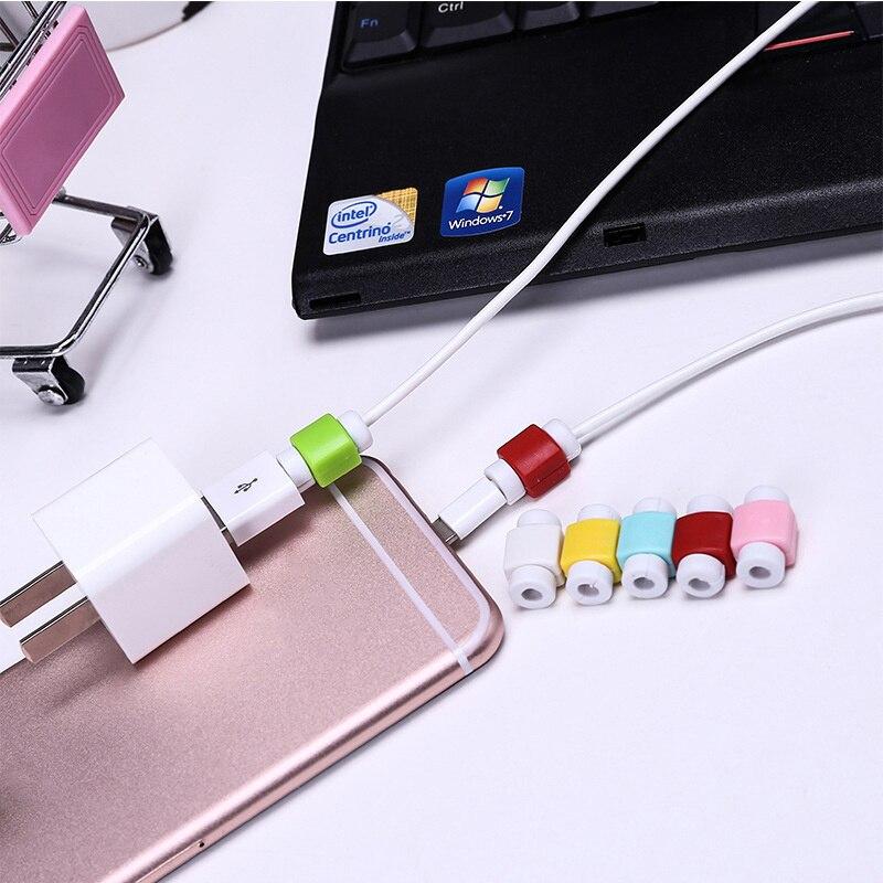 1 Pza Mini Protector de Cable de dibujos animados cubierta de enrollador de Cable Protector de línea de auriculares para IPhone Smart phone Cable USB