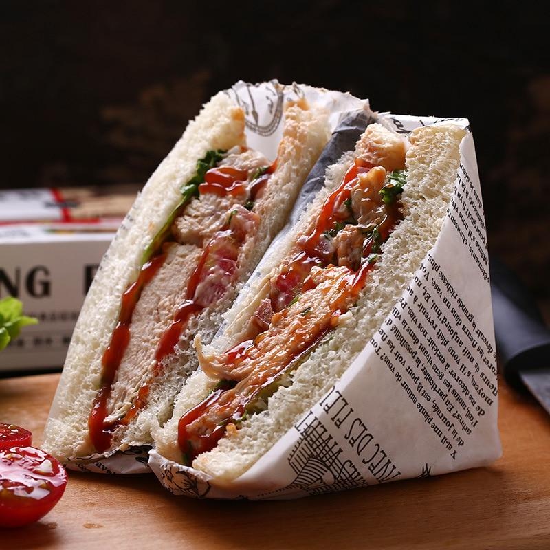Bolsa de papel para pan, envoltura de papel, hoja de embalaje de papel, absorción de aceite de silicona, papel de cera para sándwich de papel dorado asado a la barbacoa butf