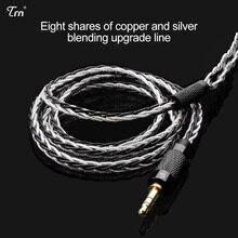 AK TRN 8 Core mise à niveau câble plaqué argent 3.5MMCX câble de mise à niveau des écouteurs pour SE846 LZ YINYOO HQ8 TRN IM1/IM2/X6/V80 V90 Revonext