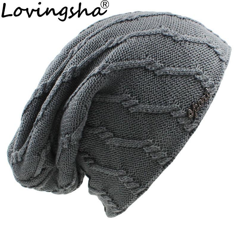 LOVINGSHA  Brand Design Women Baggy Knitted Knit Skullies Bonnet Winter Warm Hats For Girl Beanie Men Faux Fur Winter Hat Caps