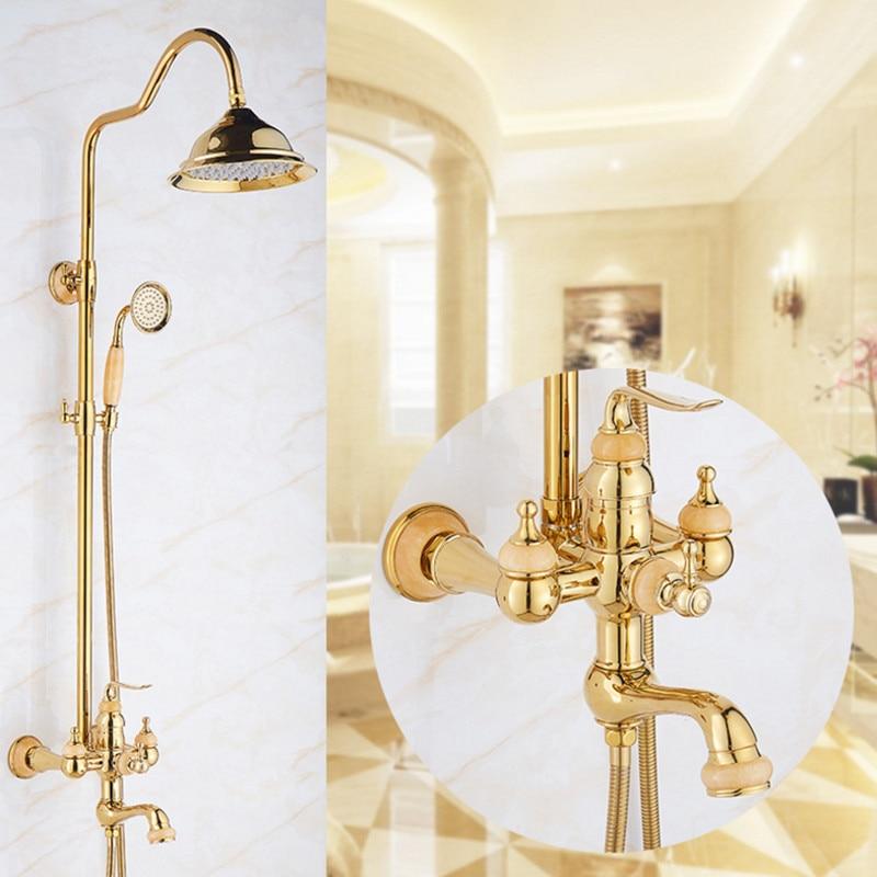 Bathroom Rainfall Gold Shower Set with Single Handle shower set Mixer Tap With Hand Sprayer Wall Mounted Bath bowlder Shower Set