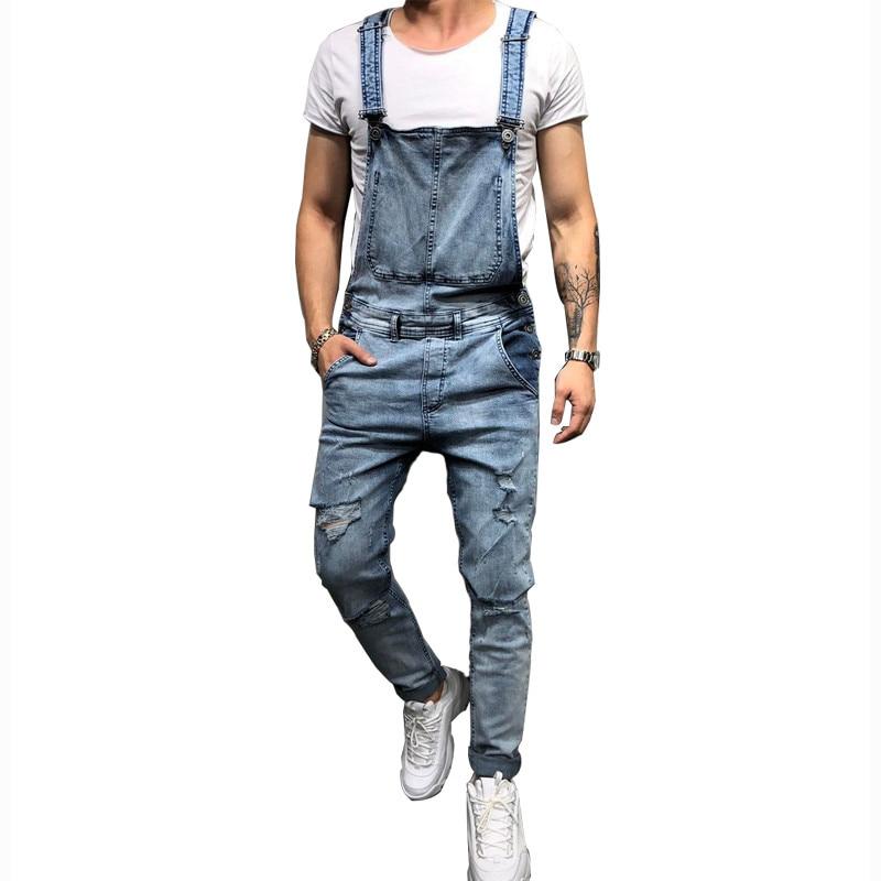 MORUANCLE Fashion Mens Ripped Jeans Jumpsuits Hi Street Distressed Denim Bib Overalls For Man Suspender Pants Size S-XXXL