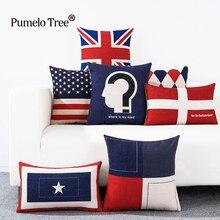 Housse de coussin drapeau anglais   Housse de coussin en lin imprimé, siège de chaise, style britannique, étui doreillers bleu rouge géométrique
