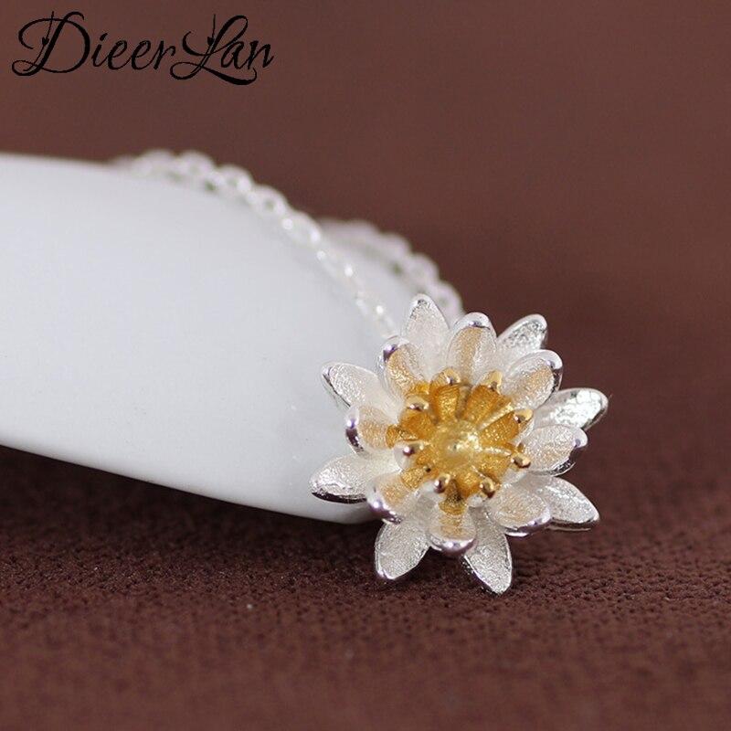Dieerlan na moda marca de luxo 925 prata esterlina flor lotus instrução colares para as mulheres moda kolye colares bijoux