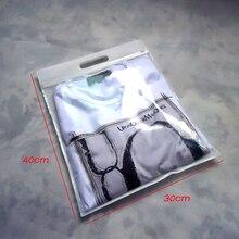 Bolsa de ropa superior con cremallera 30*40cm bolsa de plástico con cierre de cremallera deslizante con gancho blanco negro beige rosa violeta caliente 50 piezas por lote