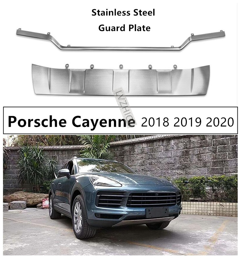 Para Porsche Cayenne 2018 2019 2020 parachoques placa protectora frontal + trasera panel de protección de alta calidad Acero inoxidable accesorios para automóviles