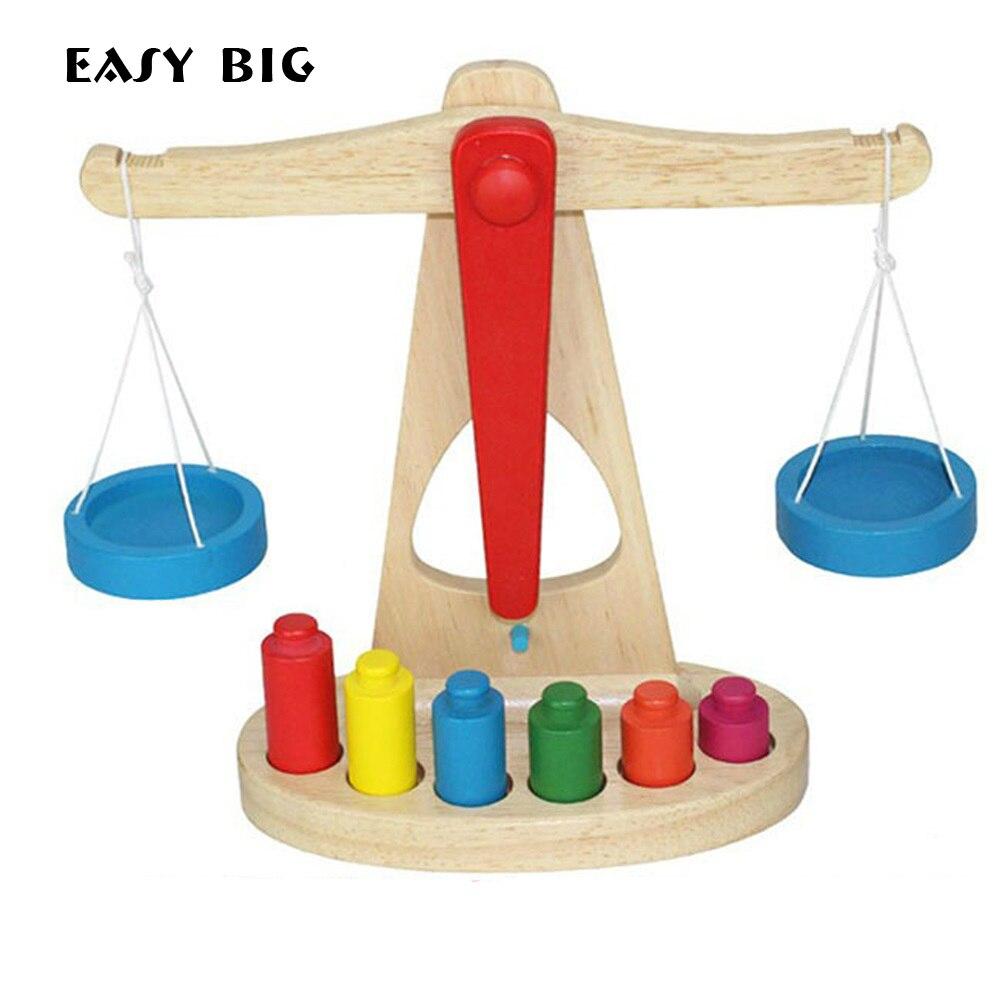 Juguetes de matemáticas Unisex grandes fáciles para niños Montessori juguetes de ábaco educativos de madera juegos de báscula tipo equilibrio TH0011
