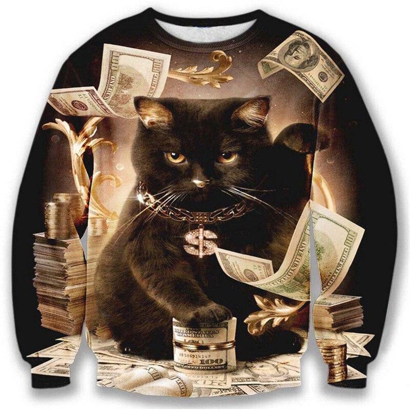 Толстовка с капюшоном Nice model для мужчин/женщин, 3d Толстовка с забавным принтом в виде большого доллара, кота и золотых цветов, Осенние Топы, м...