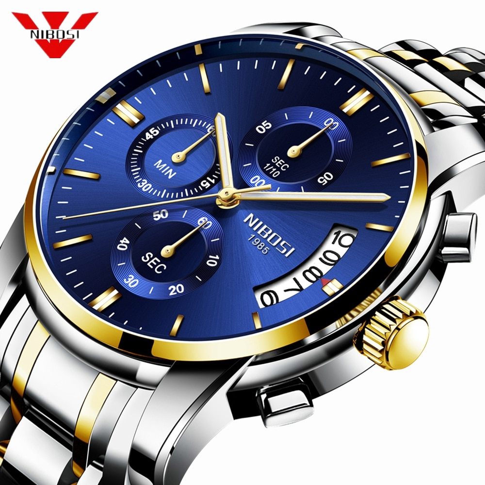 NIBOSI Watch Men Top Brand Luxury Blue Male Automatic Date Quartz Mens Watches Waterproof Sport Watc